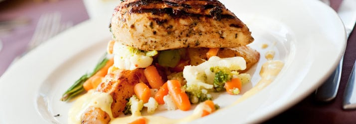 plate of chicken and vegetables